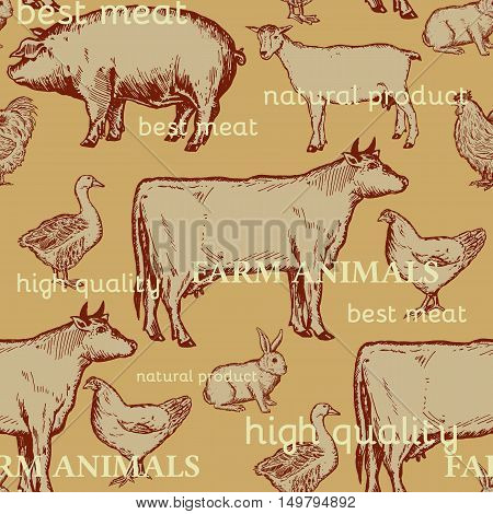 Farm animals seamless pattern cow goose chicken pig rooster goat rabbit hand drawn ink vintage engraving vector
