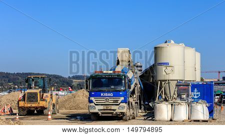 Kloten, Switzerland - 30 September, 2016: construction works in the Zurich Airport. The Zurich Airport, also known as the Kloten Airport, is the largest international airport of Switzerland and the principal hub of Swiss International Air Lines.