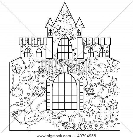 vector silhouette, stencil, template halloween castle coloring