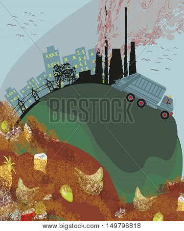 polluted cities ecology abstract landscape , vector illustration