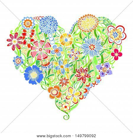 Bright flower heart, psychedelic doodles. Vector illustration, isolated on white