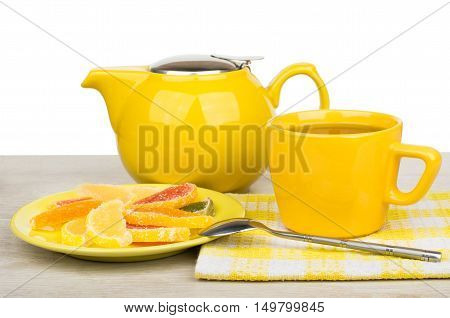Marmalade On Saucer, Tea In Cup And Teapot On Table