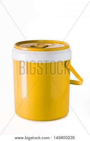 yellow water canteen isolated on white background.