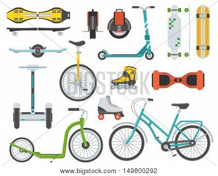 Collection of alternative transport. City wheels and bikes. Kick scooter, monowheel, bicycle, skateboard, longboard, gyroscooter, roller skates, balance board and seagway. Eco vehicles set.
