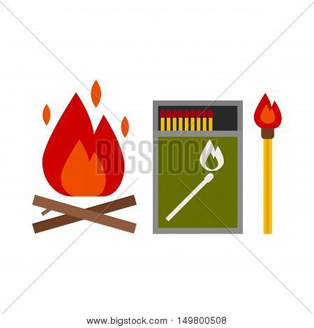 Fire starter kit. Matchbox, matchstick and bonfire vector icons.