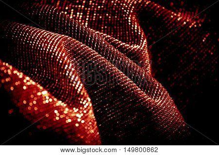 draped lurex fabric - warm red orange color space - dark background