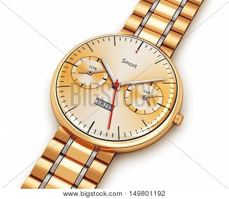 3D render illustration of golden luxury digital smart watch or clock with color screen interface and gold bracelet isolated on white background