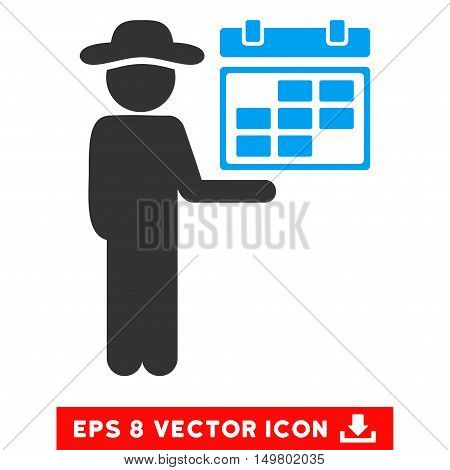 Blue And Gray Gentleman Schedule EPS vector pictograph. Illustration style is flat iconic bicolor symbol on a white background.