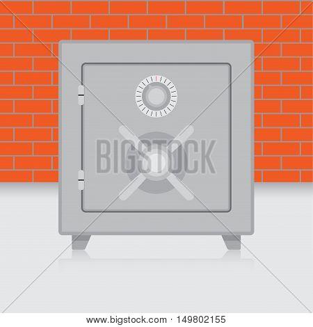 Metal safe on brick wall background. Bank safe and combination safe vector illustration