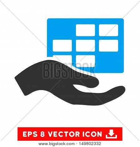 Blue And Gray Service Schedule EPS vector pictogram. Illustration style is flat iconic bicolor symbol on a white background.