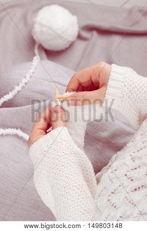 Woman Hands Knitting