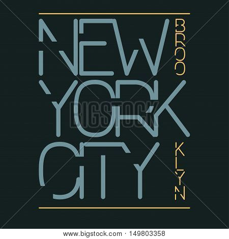 New York City Typography Graphics, T-shirt Printing Design. New York City, Brooklyn original wear. Print for sportswear apparel - vector illustration