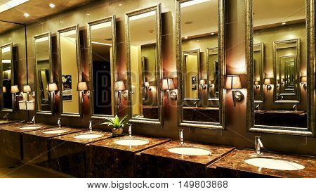Interior luxury public restroom. Interior luxury restroom background