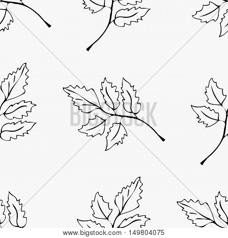 Seamless ornament composed of contours of leaves arranged in a chaotic manner.