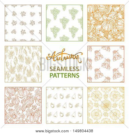 Vector Set Of Seamless Linear Autumn Patterns.