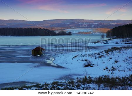 frozen lake at dusk