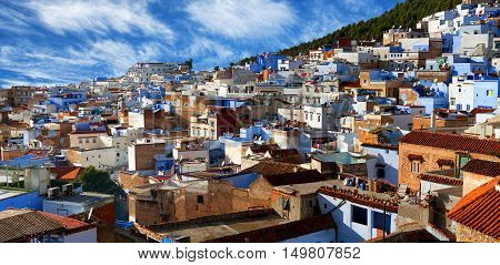 Panorama of Chefchaouen Medina in Morocco North Africa