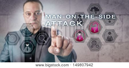 Mature cryptographic professional is investigating a MAN-ON-THE-SIDE ATTACK. Information technology concept involving computer network security and target infection with malware via regular access.