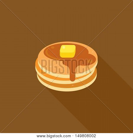 pancake icon, pancake with syrup and butter on top illustration, flat design with long shadow