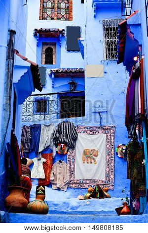 Street in Medina of Chefchaouen, Morocco. Chefchaouen or Chaouen is a city in northwest Morocco. It is the Chief town of the province of the same name and is noted for its buildings in shades of blue.