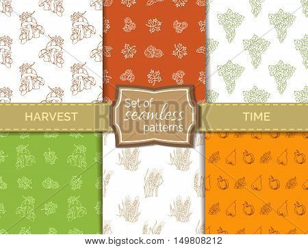 Vector Set Of Seamless Duotone Harvest Patterns.