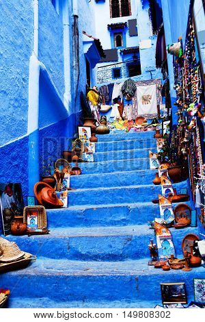 Street in Medina of Chefchaouen, Morocco, North Africa.