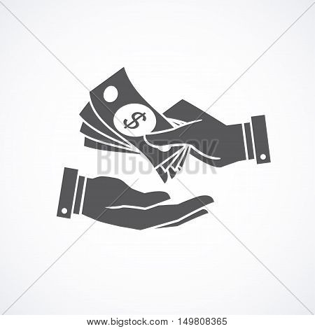 Receiving money banknotes stack icon. Vector illustration.