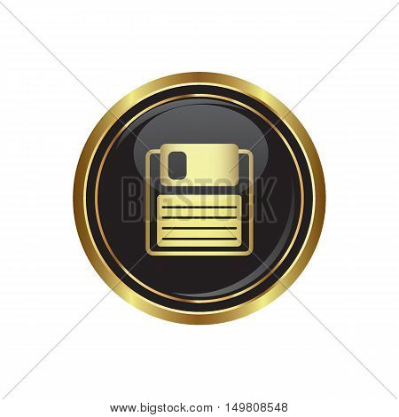 Floppy disk icon on the button. Vector illustration