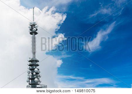 Telecommunications Equipment - Directional Mobile Phone Antenna Dishes. Wireless Communication.
