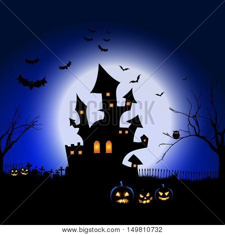 Spooky Halloween landscape with graveyard, bats and haunted house