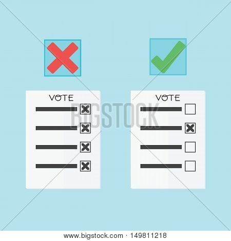 Voting Concept By Papers Have Right Or Wrong