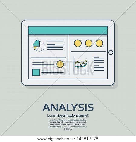 Business analysis background with tablet computer devices and line art icons responsive design. Presentation graphs, charts on screen. Eps10 vector illustration.