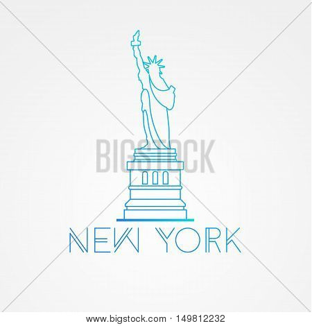 World famous Statue of Liberty. Greatest Landmarks of America. Linear modern style vector icon symbol of New York, US. Minimalist one line Trendy symbol.