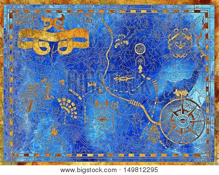 Ancient pirate map with maya pattern and symbols on blue textured background. Hand drawn illustration with treasure hunt, vintage adventures and old transportation concept
