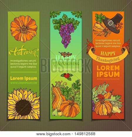 Traditional harvest autumn symbols. Pilgrim's hat pumpkin corn grape sunflower apple and pear cranberry autumn leaves and others.