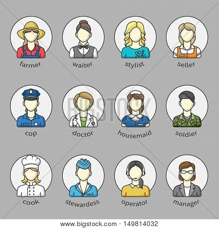 Women icons and avatars in a circle with name. Set of different female professions. farmer, doctor, police officer, manager, seller and others. Color outlined icon collection. Vector illustration.