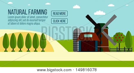 Natural Farming Banner.agriculture Farming And Rural Landscape Background. Elements For Info Graphic