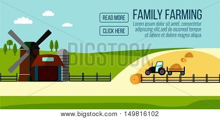 Famaly Farming Banner. Agriculture Farming And Rural Landscape Background. Elements For Info Graphic
