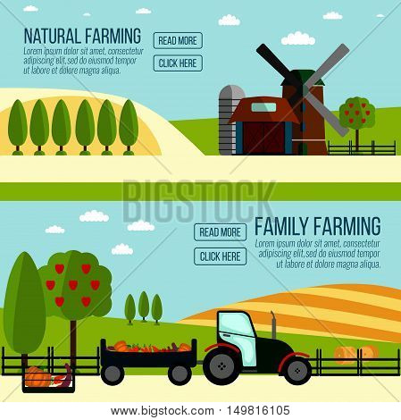 Natural And Famaly Farming Banner. Agriculture Farming And Rural Landscape Background. Elements For