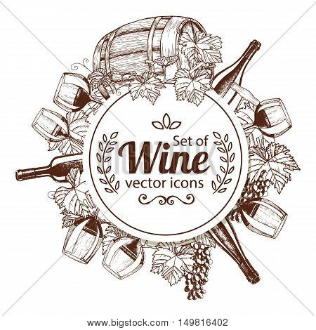 Circle shape template with sketch wine icons for packaging cards posters menu. Vector stock illustration.