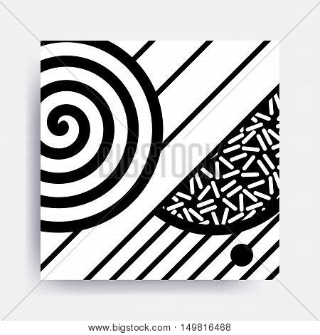 Black And White Neo Memphis Geometric Pattern