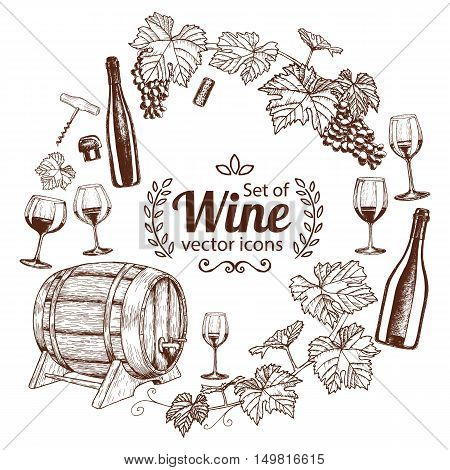 Round frame with sketch wine icons. Template for packaging cards posters menu. Vector stock illustration.