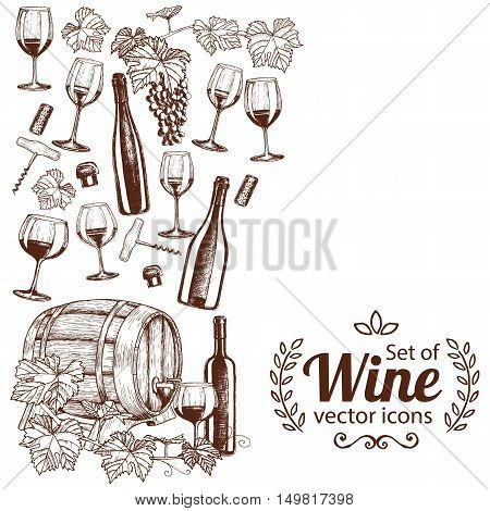 Side vertical border with sketch wine icons. Template for packaging cards posters menu. Vector stock illustration.