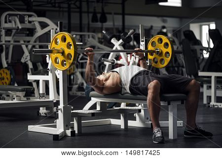 Physical activity. Good looking strong athletic man lifting a barbell and looking at it while building up his muscles.