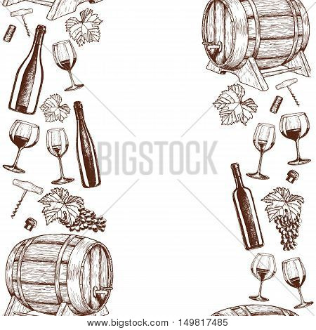 Vertical seamless borders of sketch wine icons. Vector stock illustration.
