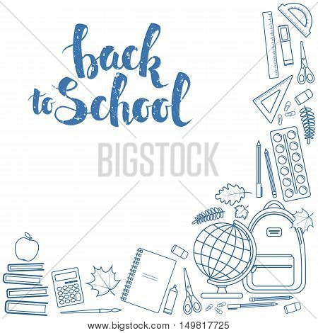 Corner frame of colorful items for education. Back to school lettering. Vector stock illustration.