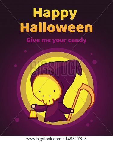 The Grim Reaper, Halloween Character, Vector Illustration Background