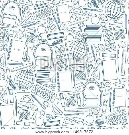 Seamless school pattern on a white background. Vector stock illustration.