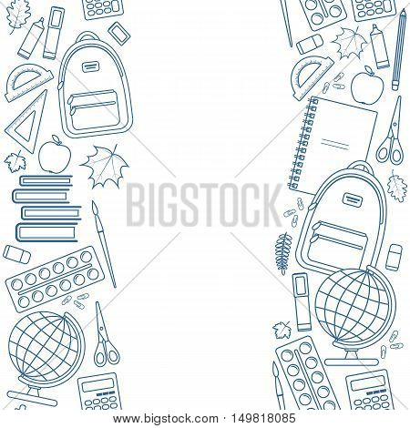 Vertical seamless borders of colorful items for education. Back to school lettering. Vector stock illustration.