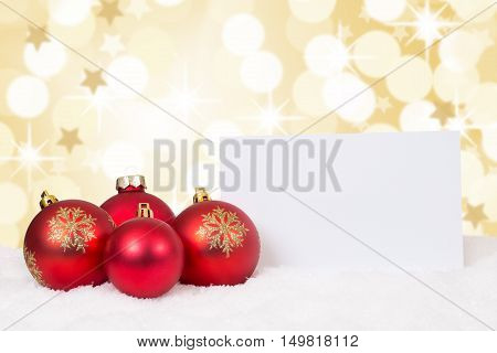 Red Merry Christmas Balls Card Stars Wishes Copyspace